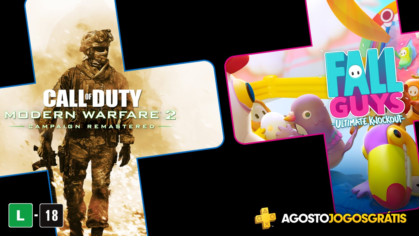 Jogos de agosto da PS Plus: Call of Duty Modern Warfare 2 Campaign Remastered e Fall Guys: Ultimate Knockout