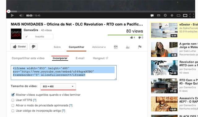 Inserindo vídeos do YouTube em uma página HTML