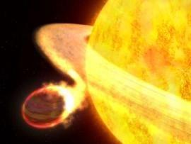 Hubble registra planeta sendo engolido por estrela