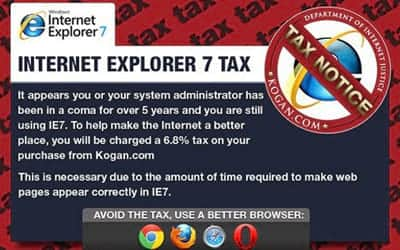 Empresa australiana cobra imposto para usu�rios do Internet Explorer 7