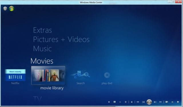 Windows 8: Windows Media Center