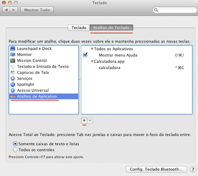 Mac: Criar atalhos de teclado para aplicativos