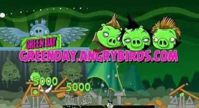 A banda Green Day para no mundo de Angry Birds