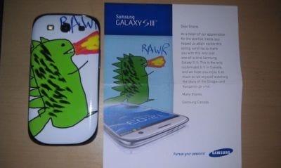 Rapaz ganha da Samsung um Galaxy SIII personalizado