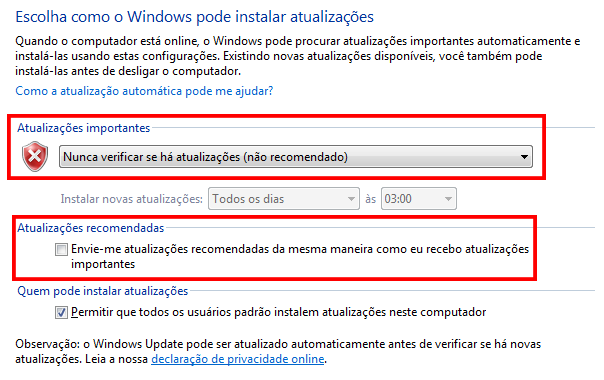 Como desativar/ativar o Windows Update