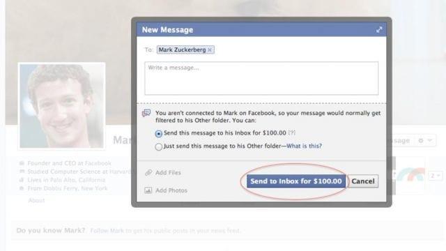 US$ 100 para enviar uma mensagem para Mark Zuckerberg no Facebook