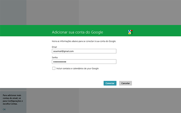 Como configurar o Hotmail e o GMail no AppMail do Windows 8?
