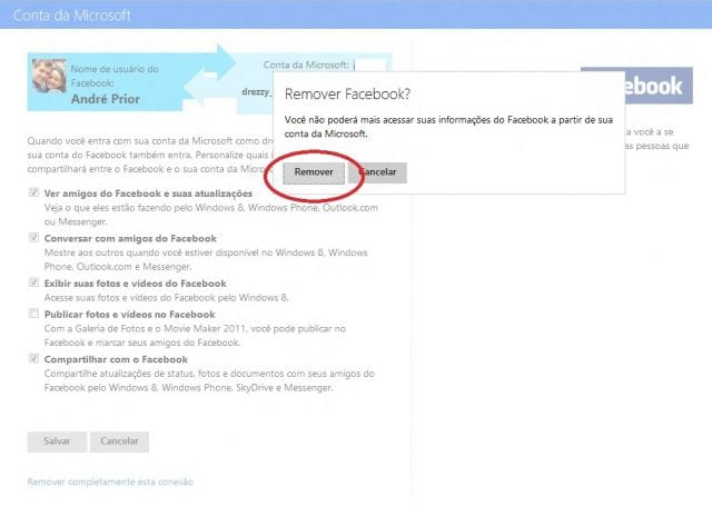 Como desvincular a conta do Windows Live com o Facebook