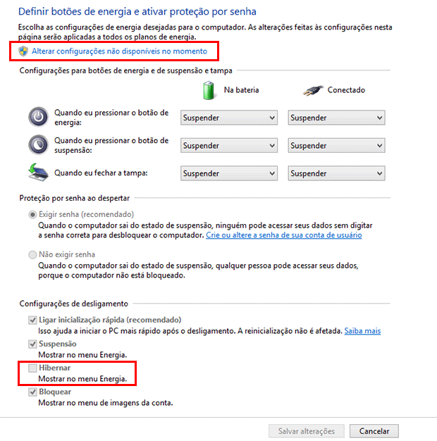 Como ativar o botão de Hibernar no Windows 10 e no Windows 8