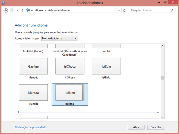 Como alterar o idioma no Windows 8?