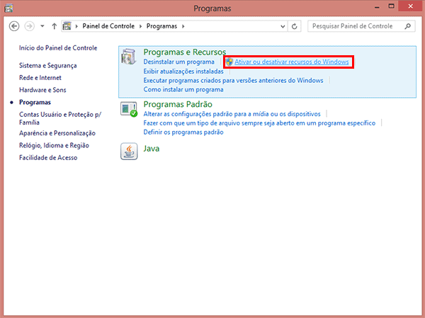 Como ativar o Telnet no Windows 8?