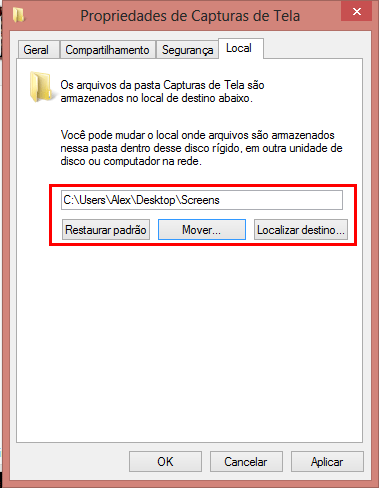 Como alterar a pasta padrão para salvar screenshots no Windows 8?