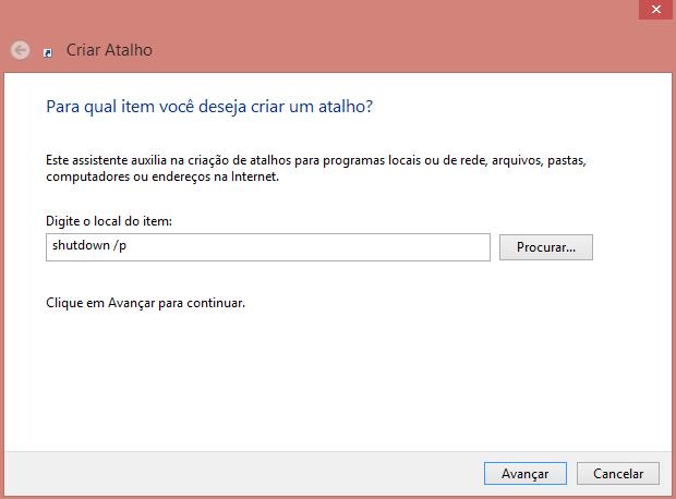 Criando um atalho para desligar o computador com Windows 8
