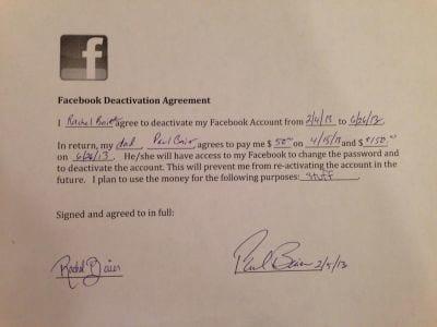 Pai oferece US$ 200 para filha ficar longe do Facebook