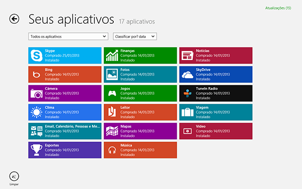 Como ver o número de aplicativos instalados no Windows 8