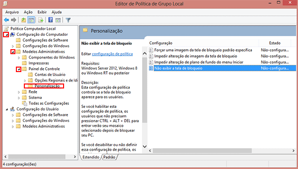 Como desativar a tela de bloqueio do Windows 8