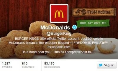Hackers invadem conta do Burger King e alteram nome